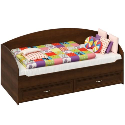 Кровать с двумя выдвижными ящиками (Орех)